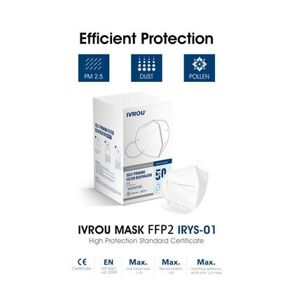 Μάσκα IVROU FFP2 Πιστοποιημένη από DEKRA Γερμανίας | 10 τμχ